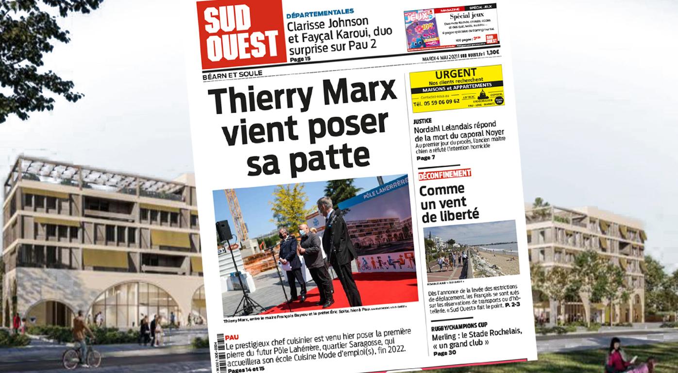 Projet Pôle Laherrère à Pau, le chef Thierry Marx pose la première pierre
